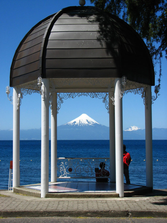 Gazebo at Frutillar Village overlooking Llanqhihue Lake and Osorno Vocano Chile