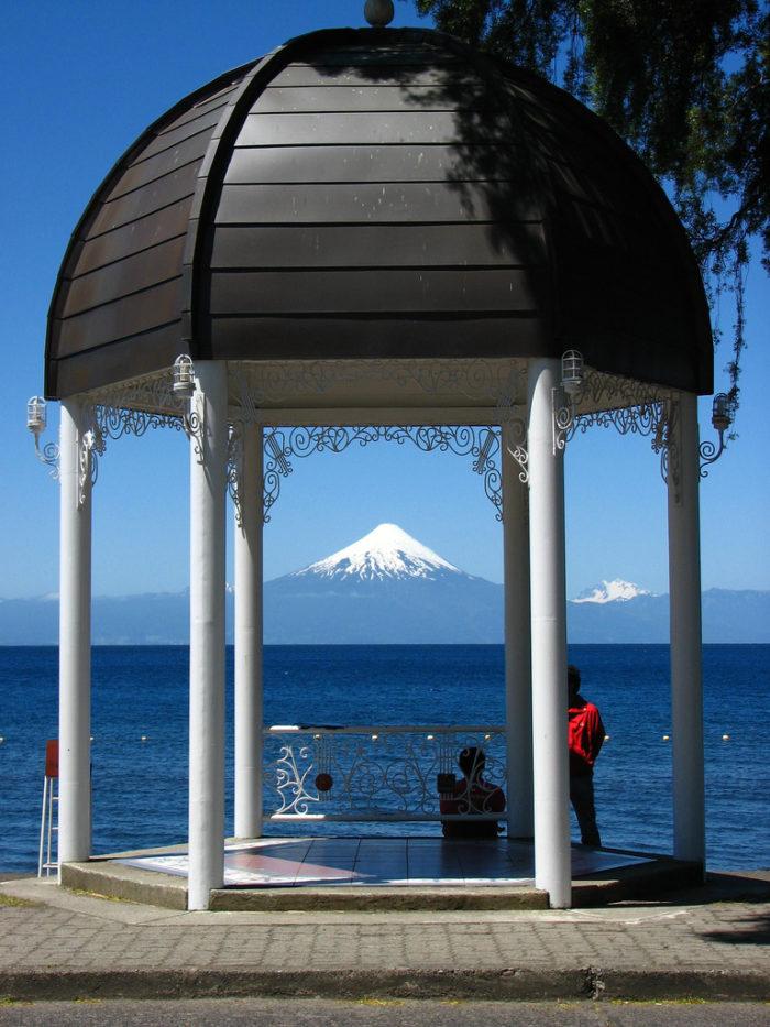 Gazebo at Frutillar Village overlooking Llanqhihue Lake and Osorno Vocano Chile