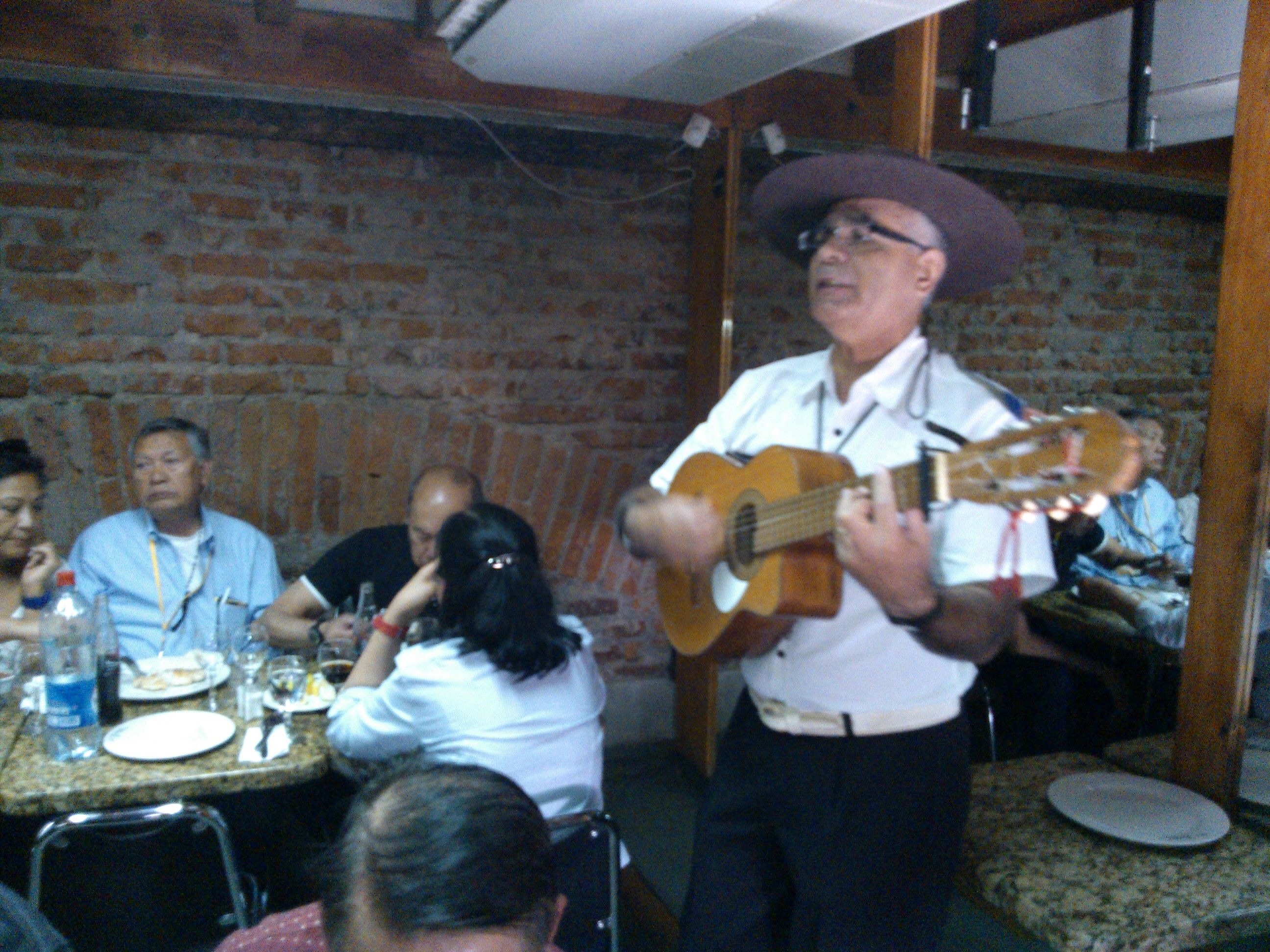 Folklore music at restaurant in Santiago Chile