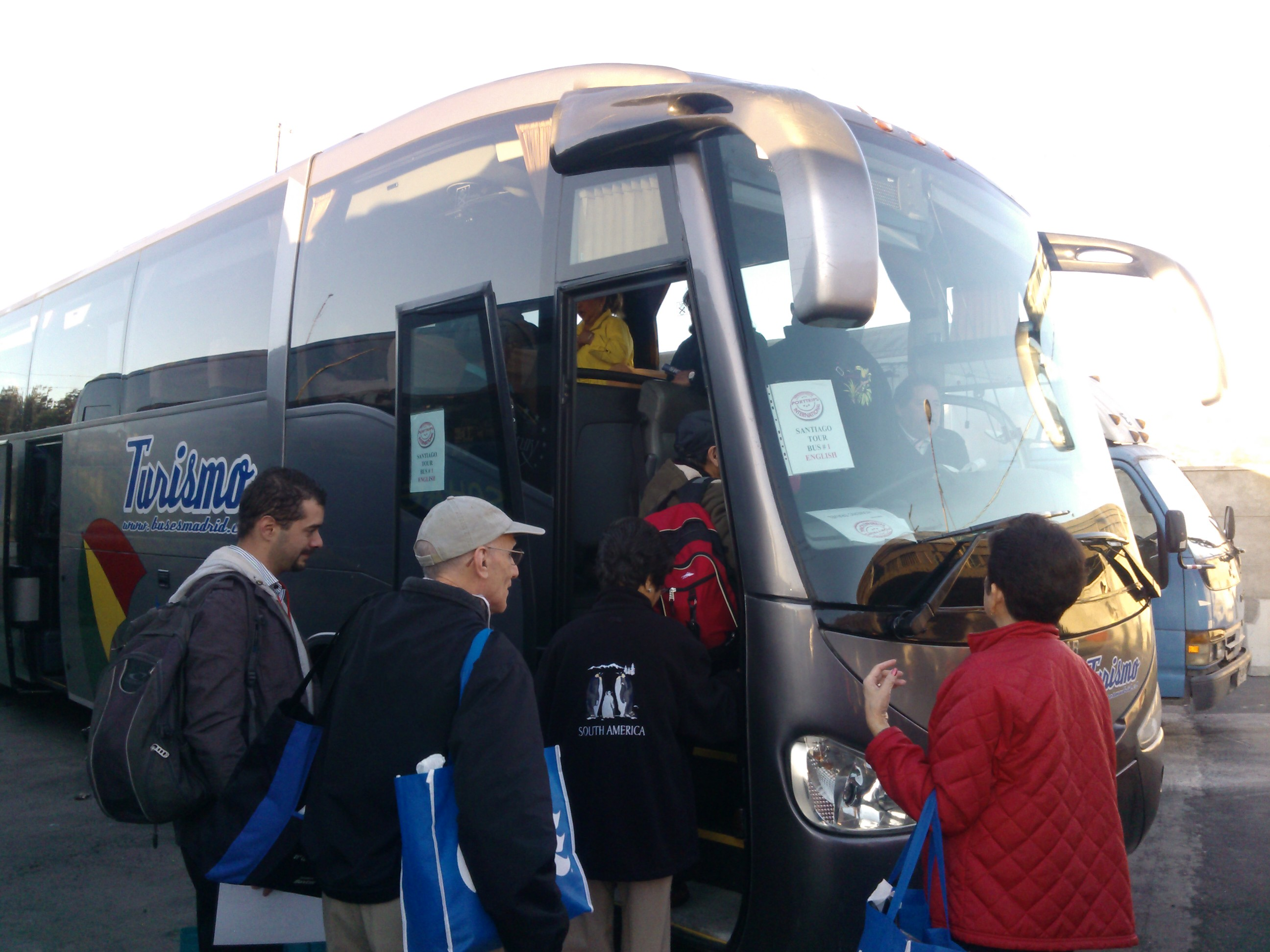Boarding the bus to star the excursion Valparaiso Chile