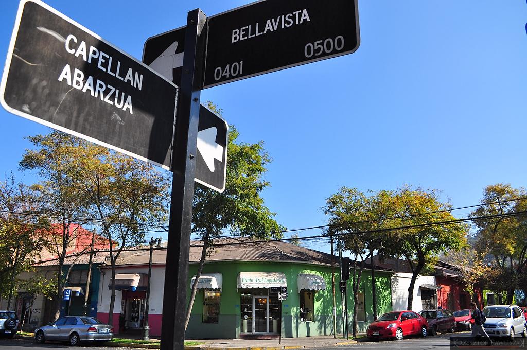 Street signs at Bellavista neighborhood Santiago Chile