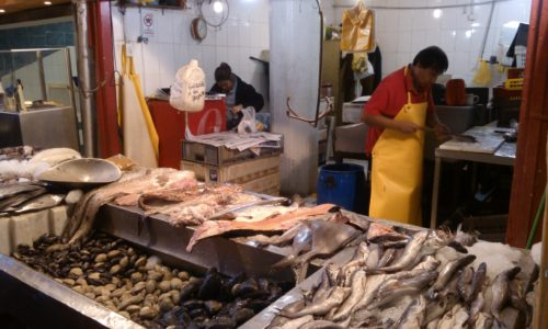 Selling fish at Central Market Santiago Chile